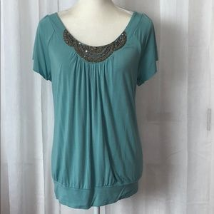 Willi Smith Turquoise with Jewel Detail Blouse L